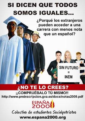 Jóvenes pre-universitarios españoles discriminados a la hora de acceder a su carrera en beneficio del inmigrante