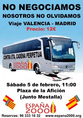 España 2000 se adhiere a la Rebelión Cívica promovida por Alcaraz ofreciendo un servicio de autobuses desde Valencia